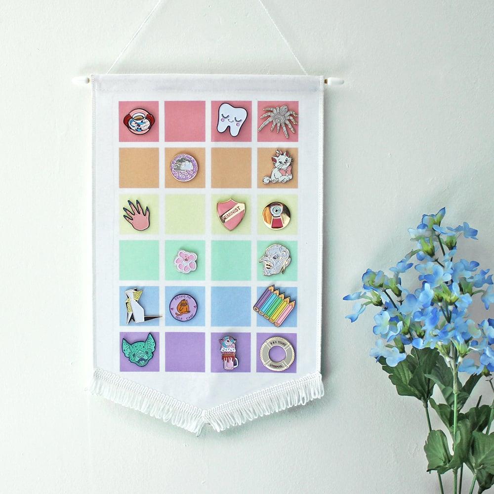 Pastel Rainbow pin display pennant, enamel pin badge banner - PALE colours  / WHITE fringing