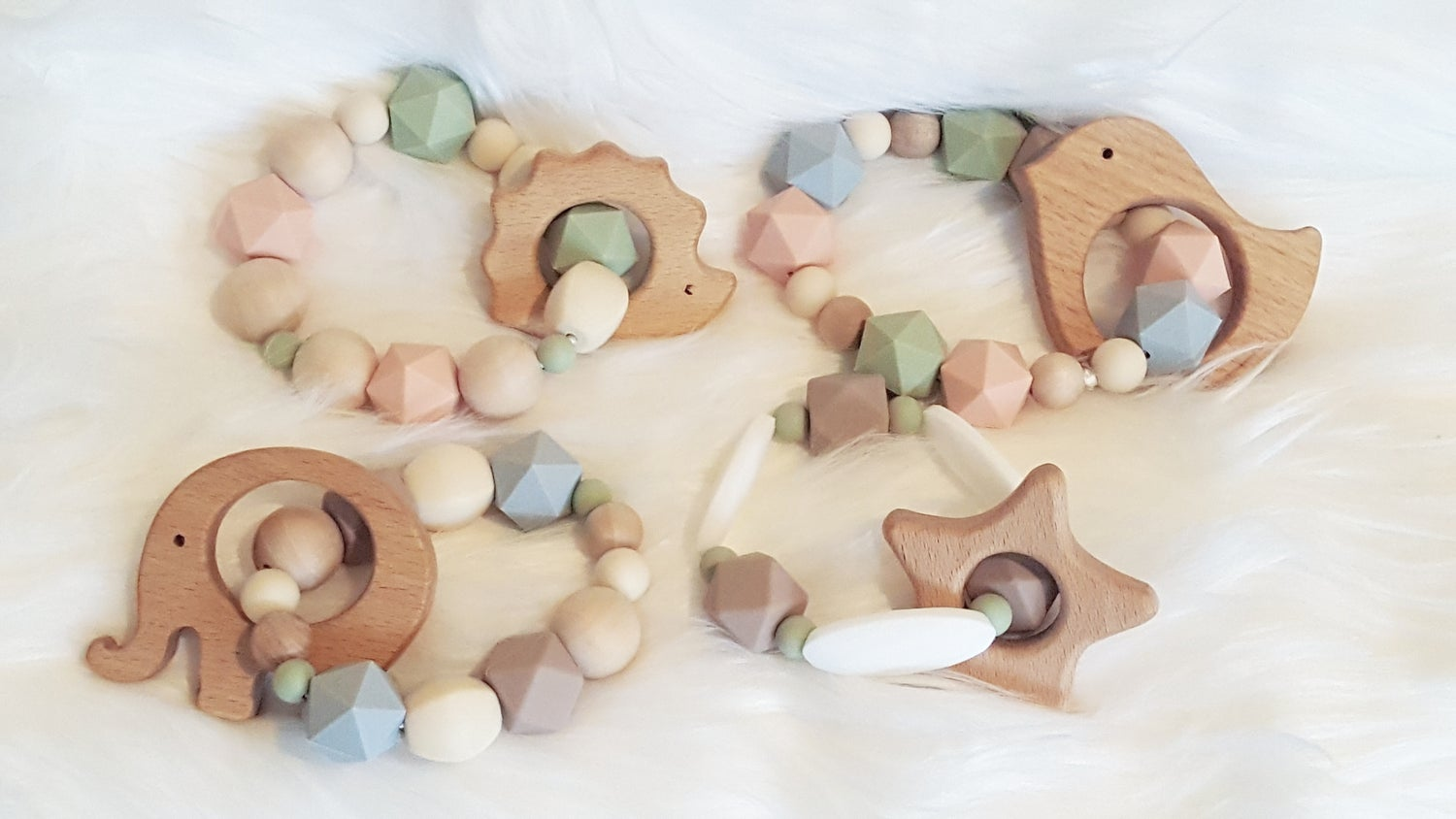 Image of Silicone and Wood Bead Teething Rattle- Bird