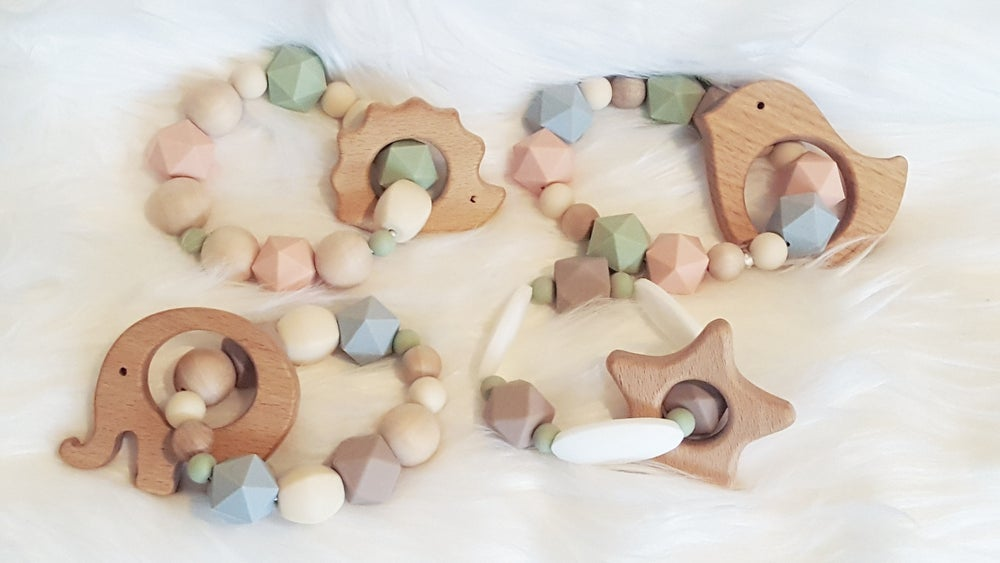 Image of Silicone and Wood Bead Teething Rattle