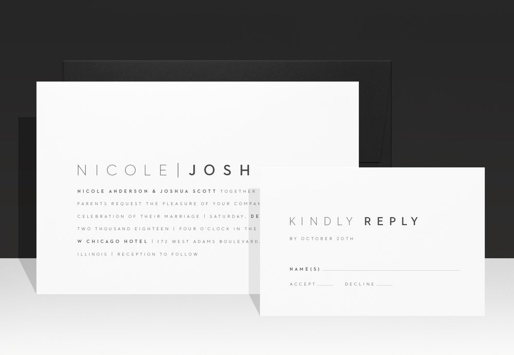 Image of Simple & Modern Designer Wedding Invitation - Nicole