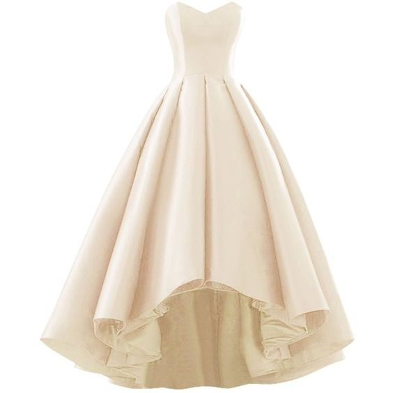 Ivory Satin Sweetheart High Low Prom Dresses, High Low Formal Gowns, Party Dresses