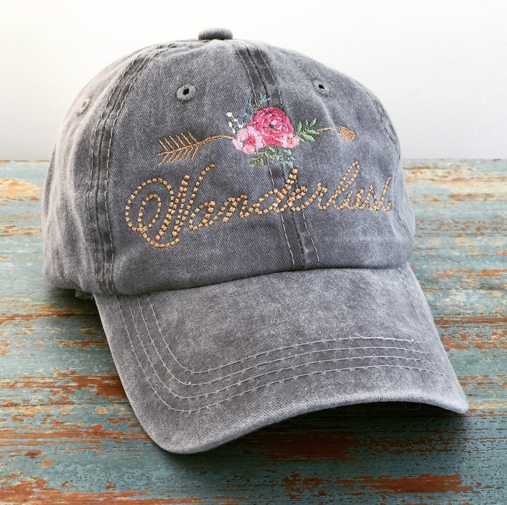 Image of Wanderlust Rose Arrow Vintage Wash Cap