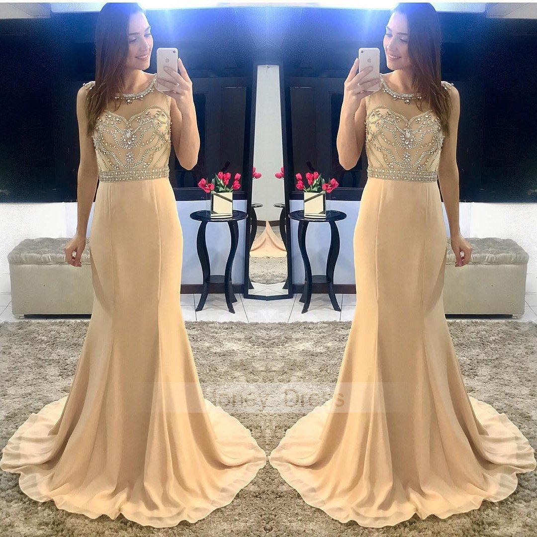 Chiffon Dressing Gown: Champagne Chiffon Mermiad Illusion Beaded