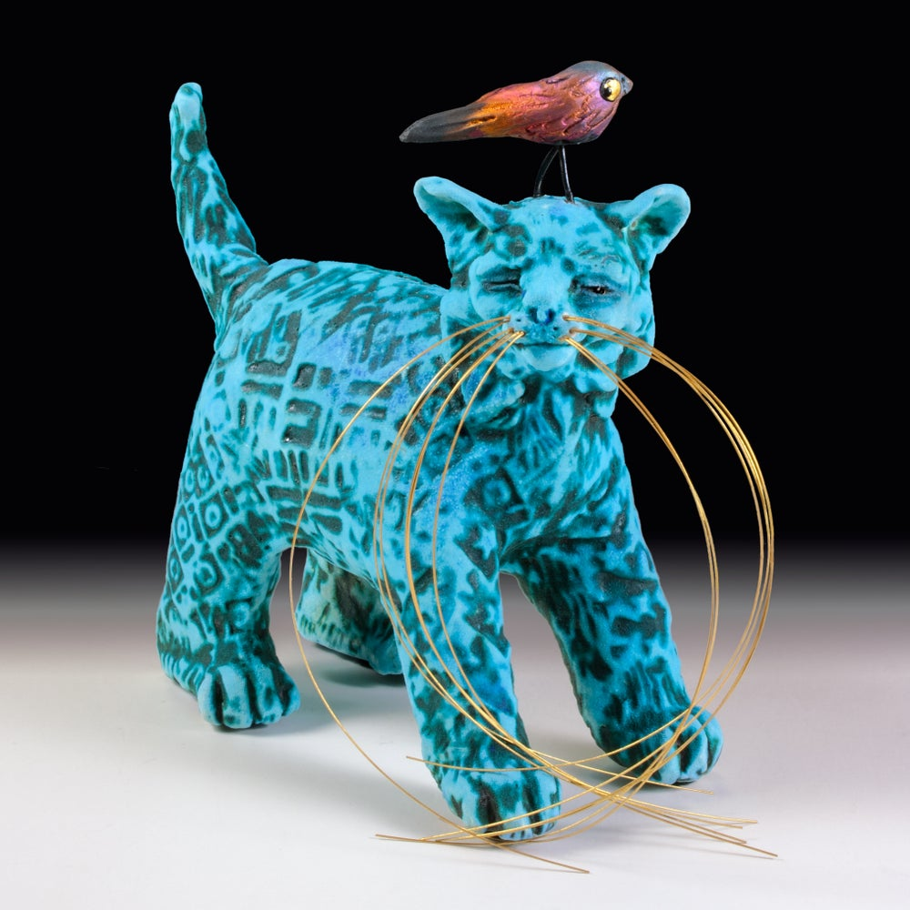 Image of Ceramic Cat Sculpture - Harold's Headache