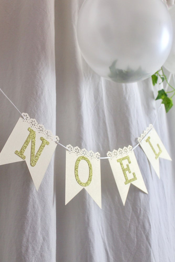 Image of Noel lace effect flagged banner