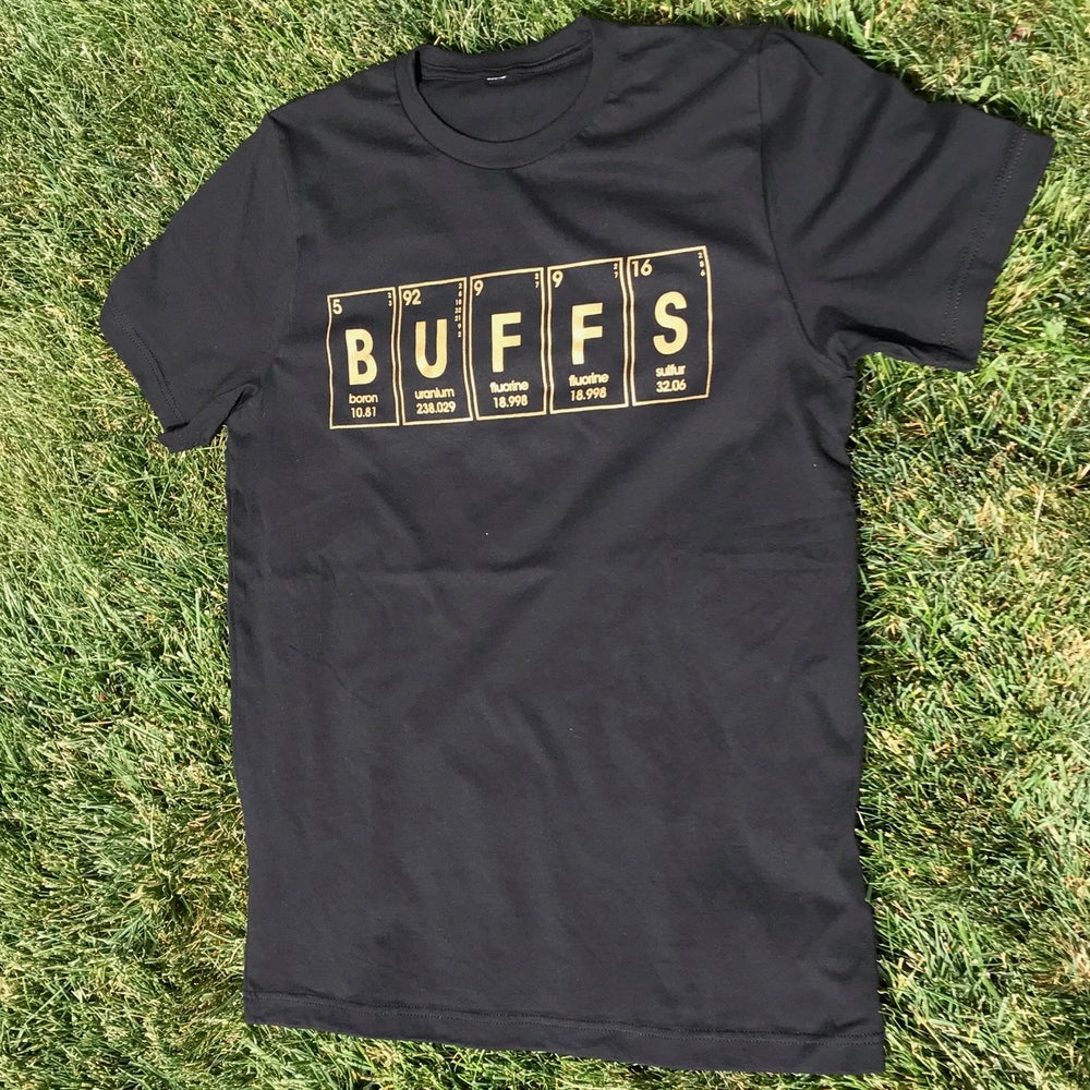Image of periodic buffs. retro graphic tee
