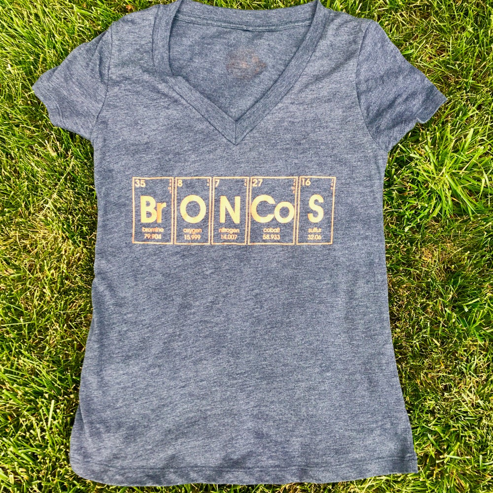 Image of periodic broncos. - deep V graphic tee