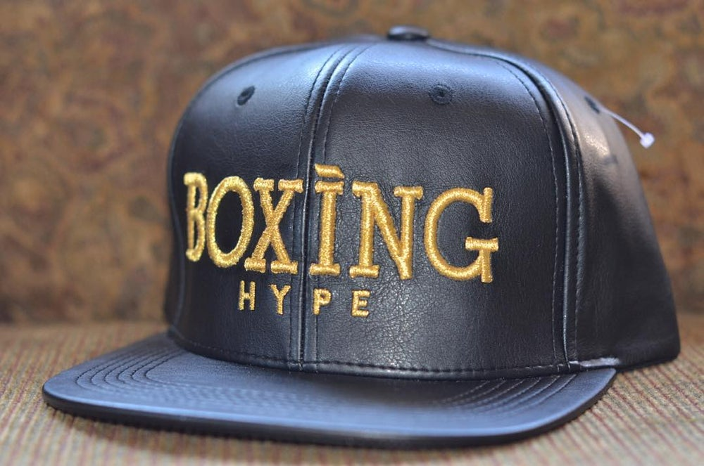 Image of Black on Gold Classic BoxingHype Leather SnapBacks