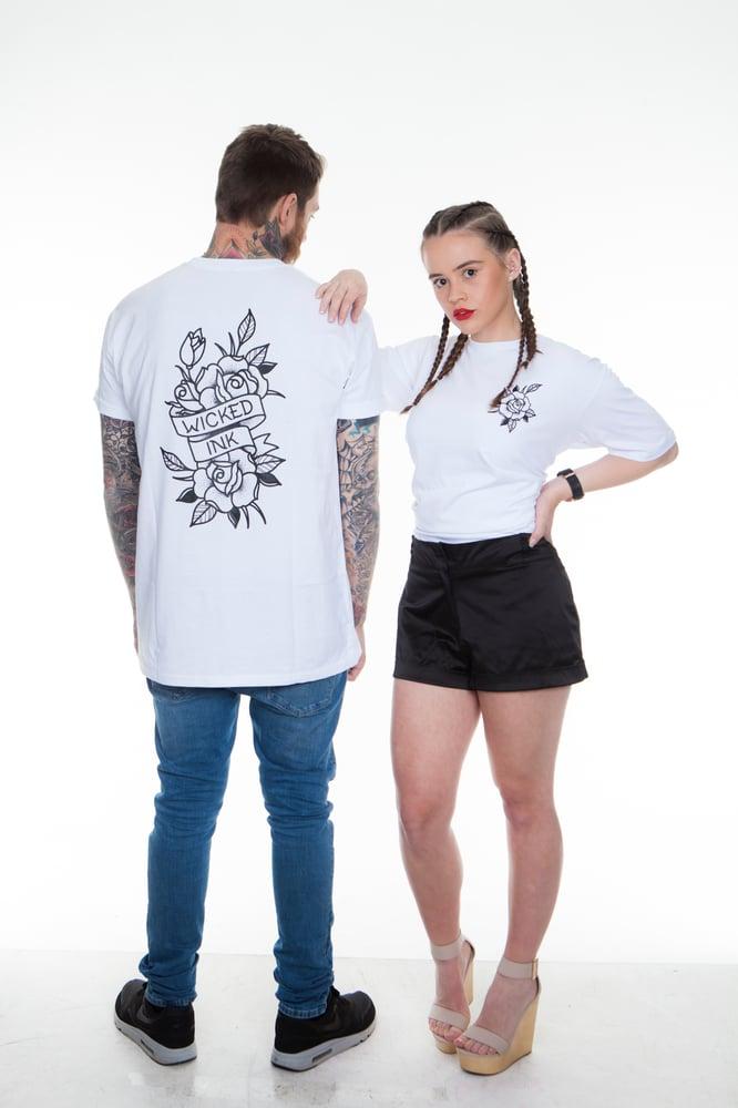 Image of Mens White New School Rose T- Shirt