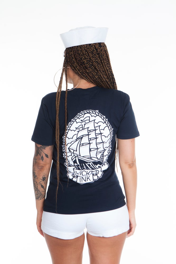 Image of Mens Navy Ship T-Shirt