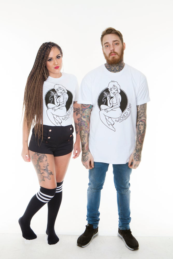 Image of Mens White Cheeky Pinup T-Shirt