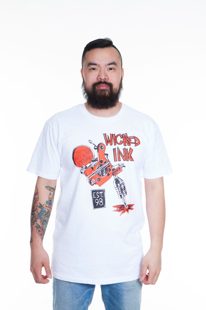 Image of Mens White Big Red Machine T-Shirt