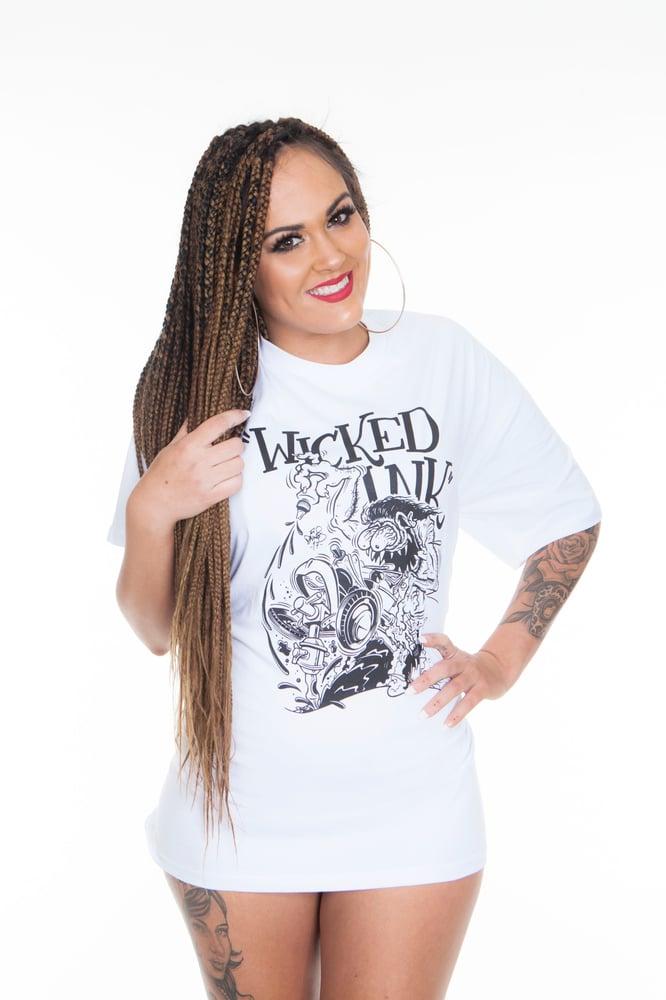 Image of Mens White Monster Hotrod T-Shirt