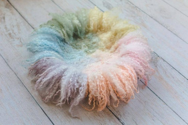 Image of Rainbow Round Curly Felted Blanket