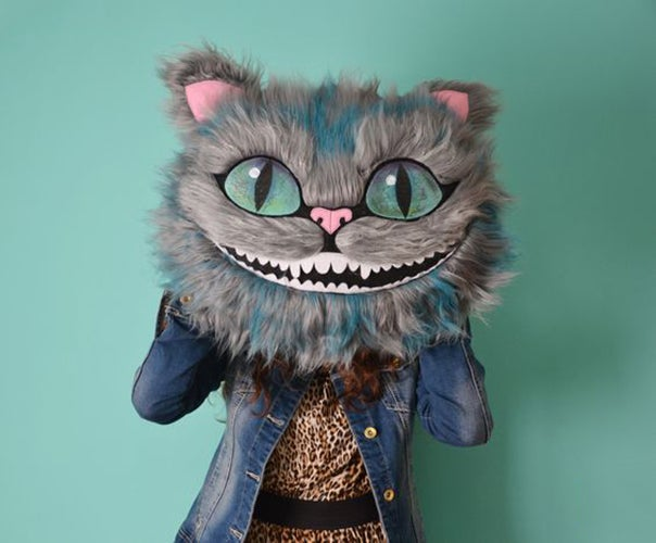 Image of Cheshire Cat Head Decorative Pillow