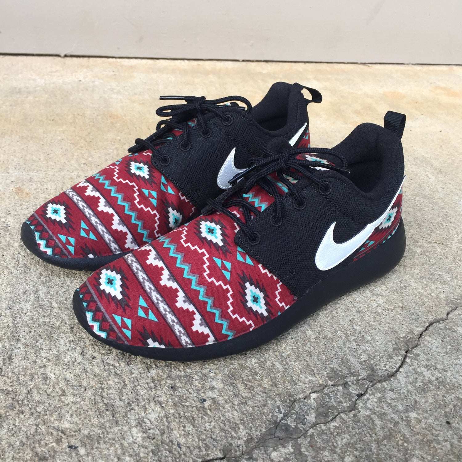"Image of Custom Nike Roshe One ""Maroon Aztec Blackout"""