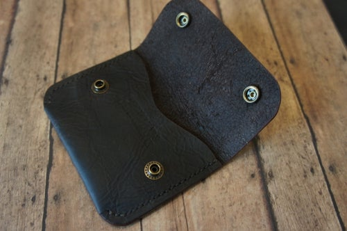 Image of dark brown bison snap wallet