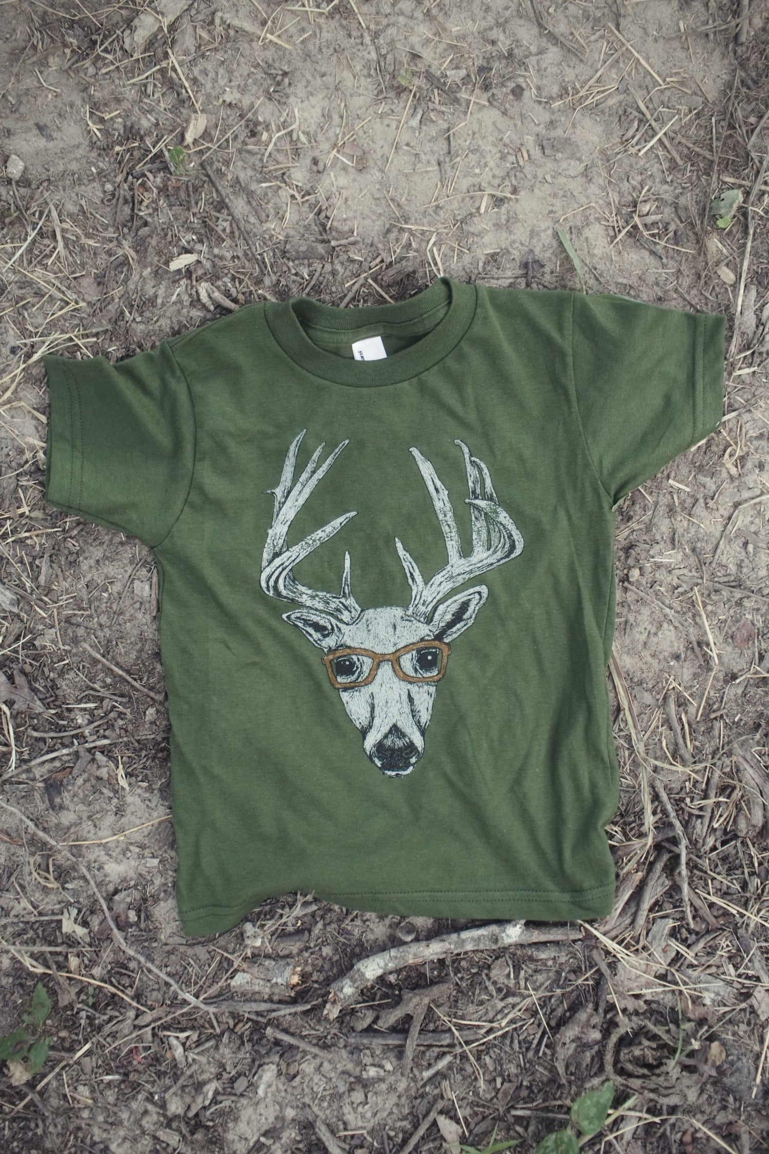 Image of Youth Deer Goggles Tee in Olive Green