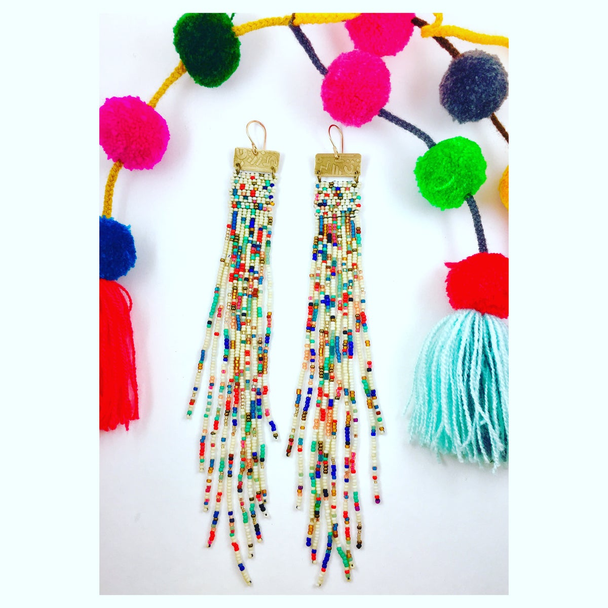 "Image of ""Pom Pom"" Beaded Earrings"
