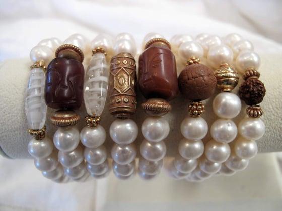 Image of Vintage Amulet & Pearl Bracelets