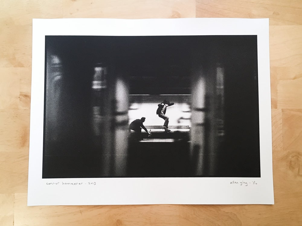 "Image of connor kammerer - nollie crooked grind - 11"" x 14"" gelatin silver print"