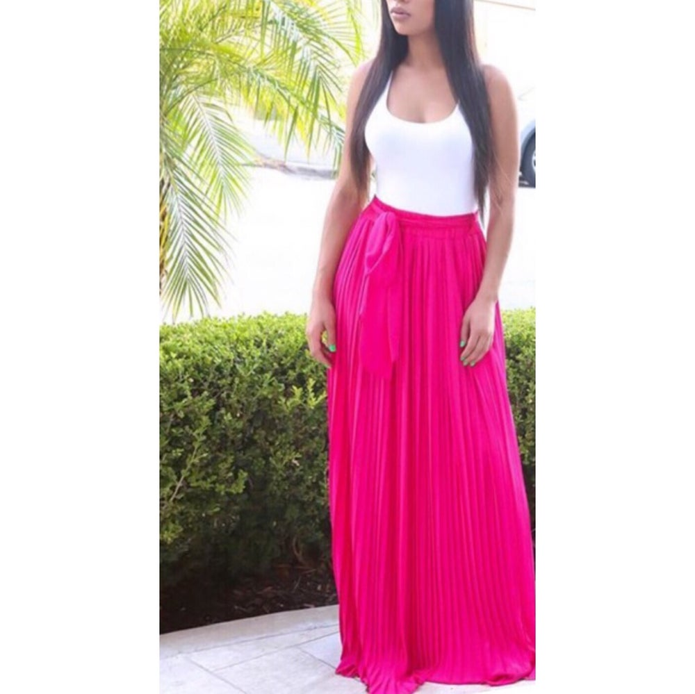 Image of Pleated Pink Maxi Skirt