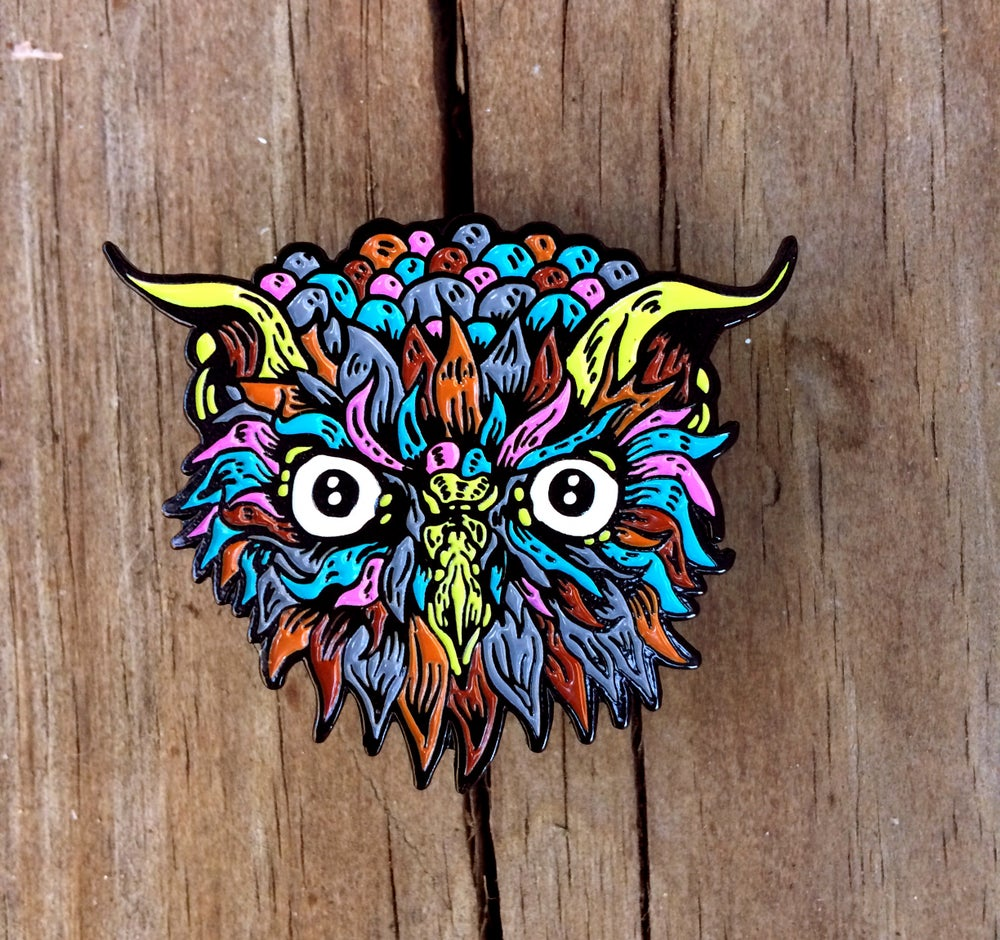 """Image of Electric Owl: 1.75"""" Limited Edition Enamel Pin"""