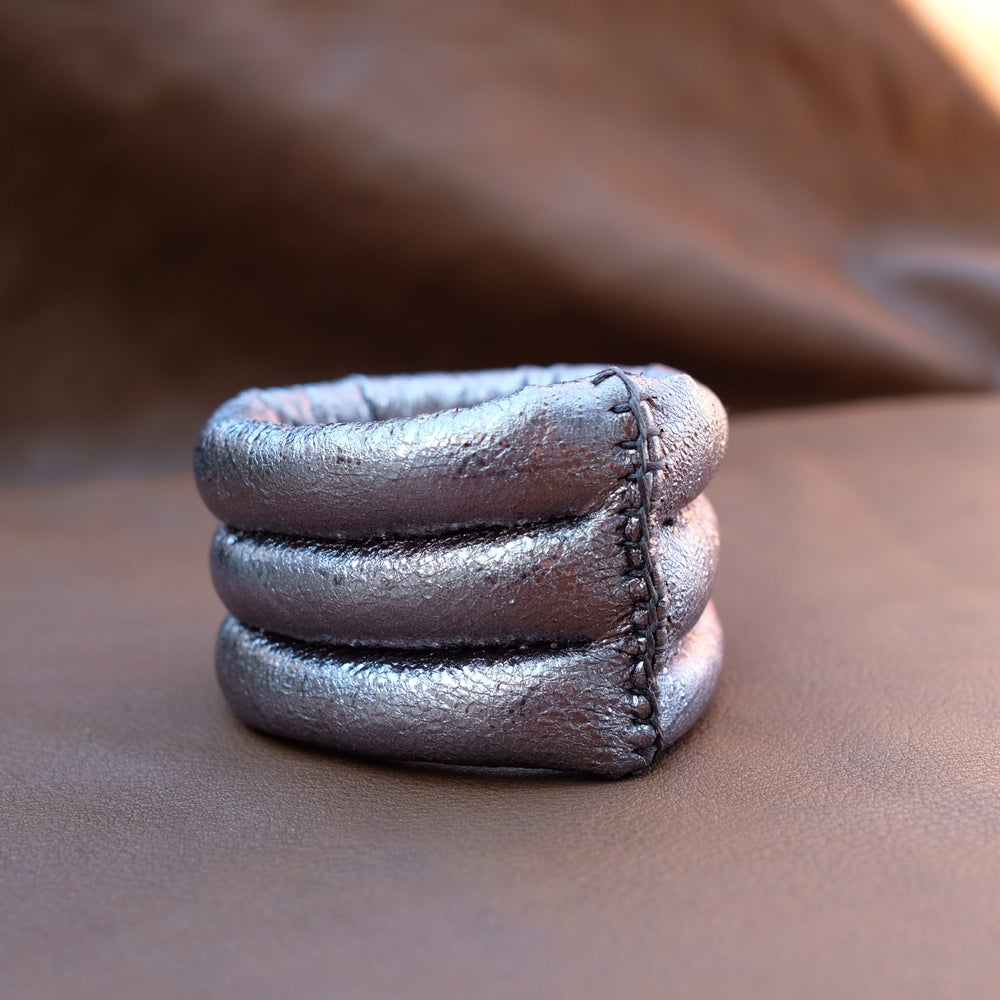 Image of 3L Bracelet in Gun Metal Grey Metallic Leather