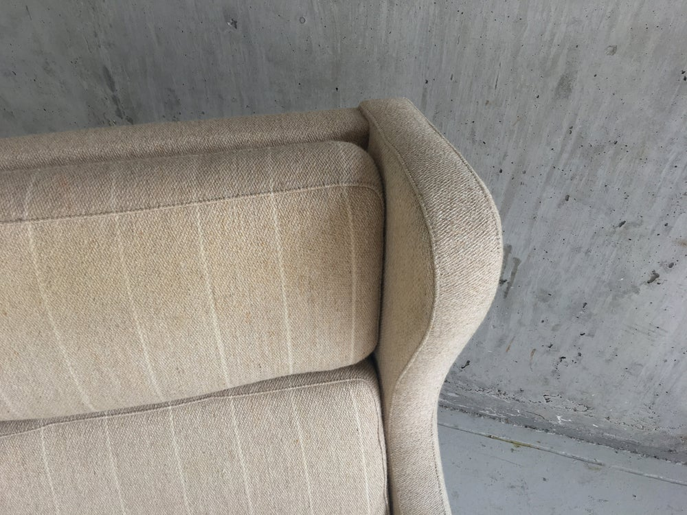 Image of 1960/70's Danish mid century wing backed armchair in the style of Borge Mogensen