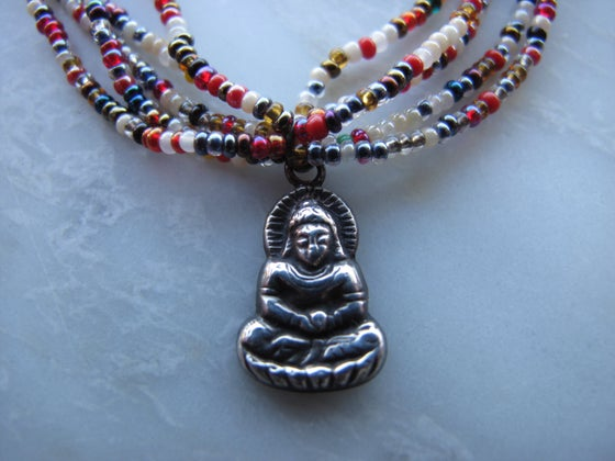 Image of Vintage Sterling Buddha Necklace