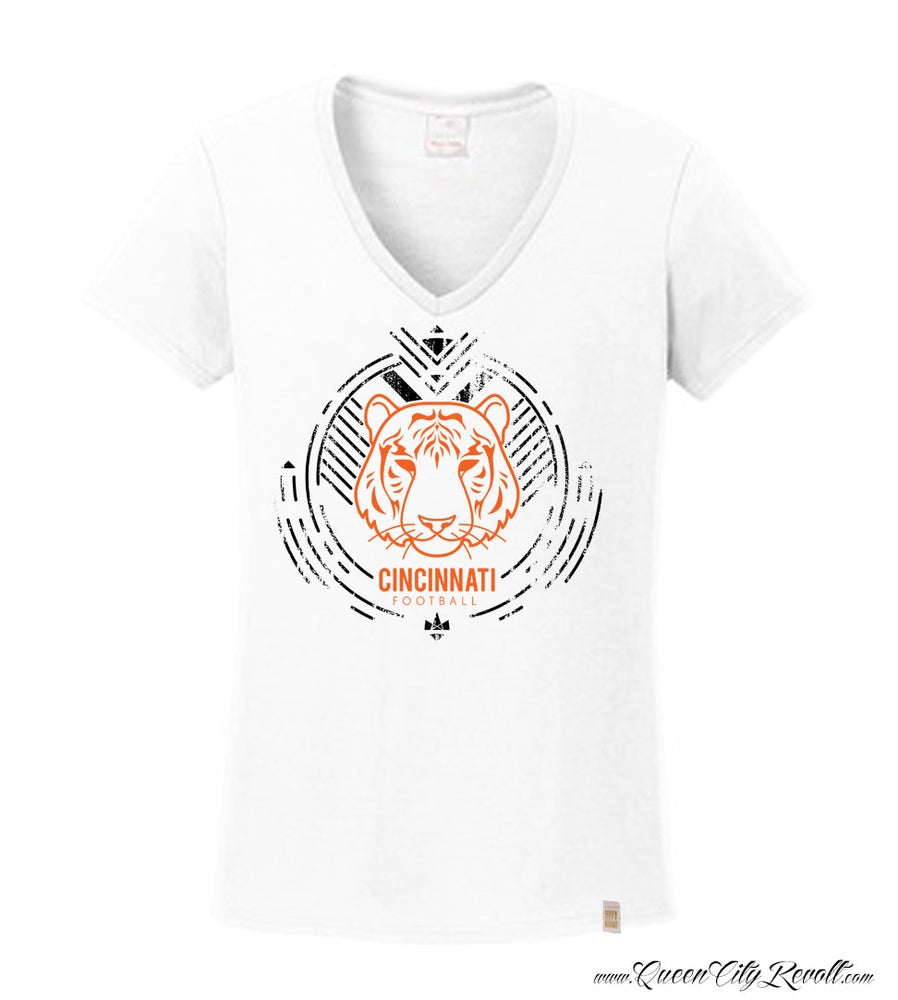 Image of Cincinnati Bengals Football, Women's White Vneck