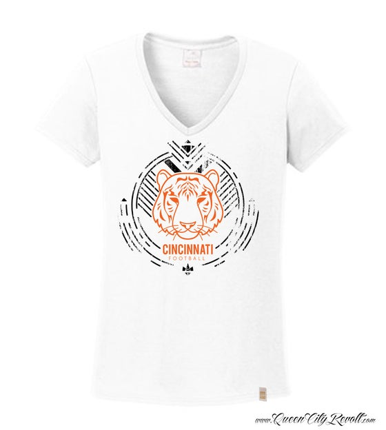 Image of Cincinnati Football Tiger, Women's White Vneck
