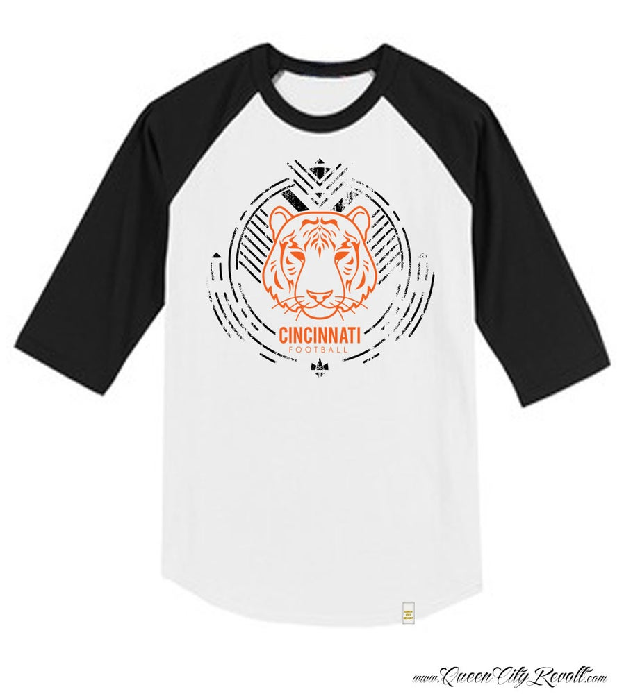 Image of Cincinnati Football Tiger 3/4 Sleeve tee, White & Black