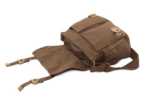 Image of Waxed Canvas DSLR Camera Bag, Messenger Bag, Diaper Bag BBK-3