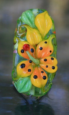 Yellow/Orange Tiger Lily bead 184 - capricorn dancer art glass