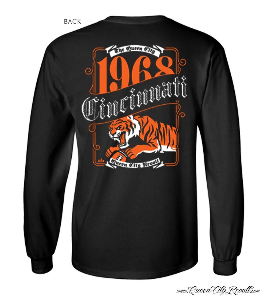 Image of Cincinnati Football Label Longsleeve Tee, Black
