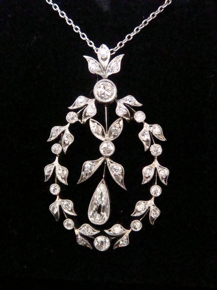Image of EDWARDIAN PLATINUM DIAMOND LAVALIERE 2.30CT. STUNNING. ORIGINAL