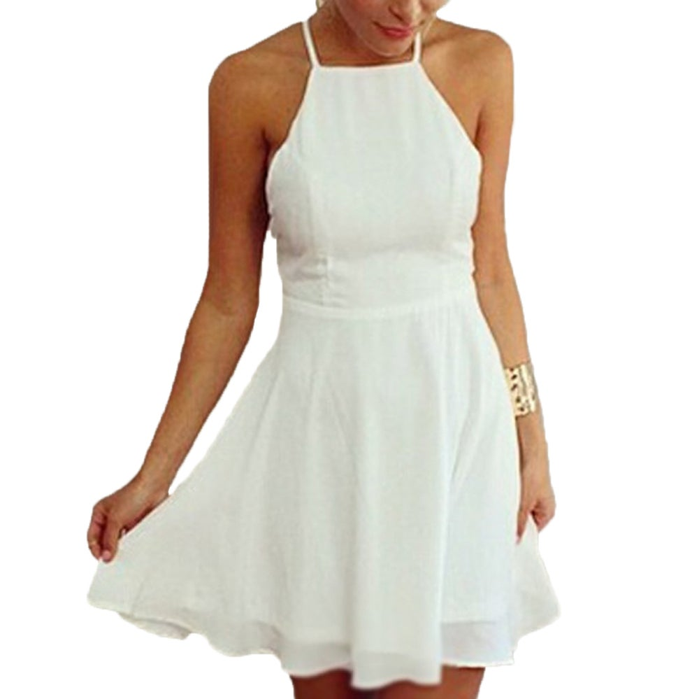 Image of White Chiffon spaghetti strap skater dress