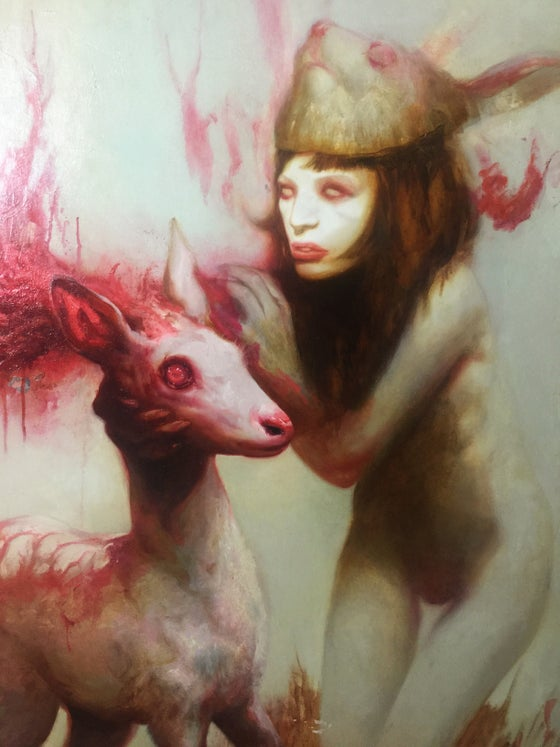 "Image of 'Girl w/ bunny mask whispering to Albino deer' - 42 x 37"" - Deluxe Limited Edition Museum Print"