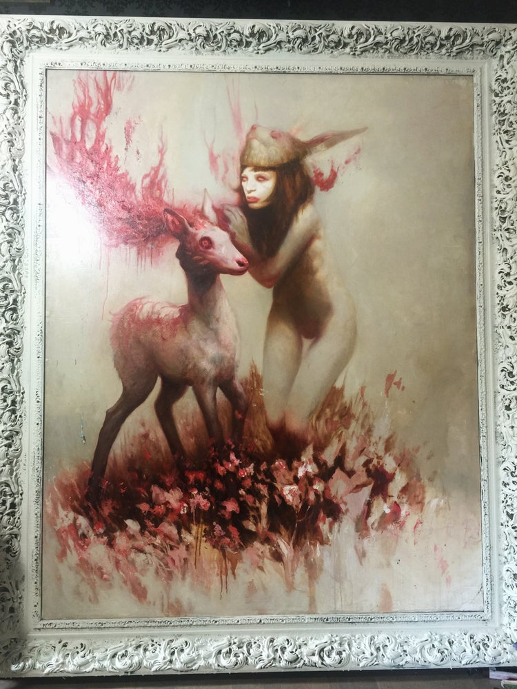 """Image of 'Girl w/ bunny mask whispering to Albino deer' - 10 x 9"""" - Open Edition Museum Archival Print"""