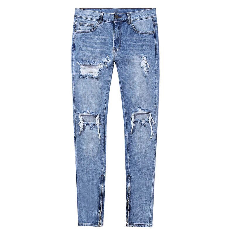 Image of Ripped Zip Up Denim
