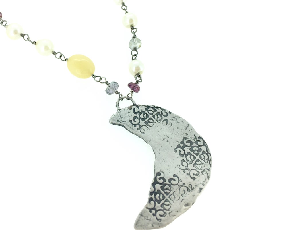 Image of Libra crescent moon necklace