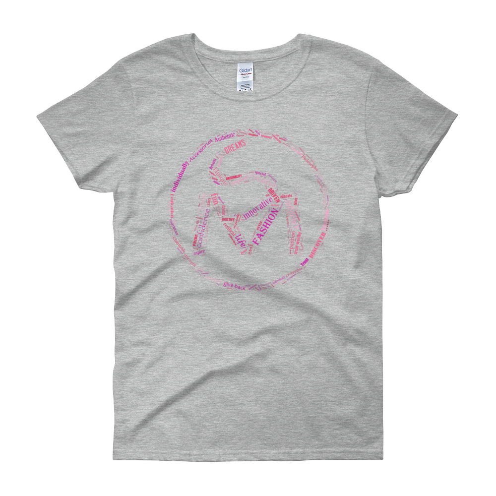 Image of Ladies S.O.L.E. Movement Pink Word Art Tee in Sport Gray