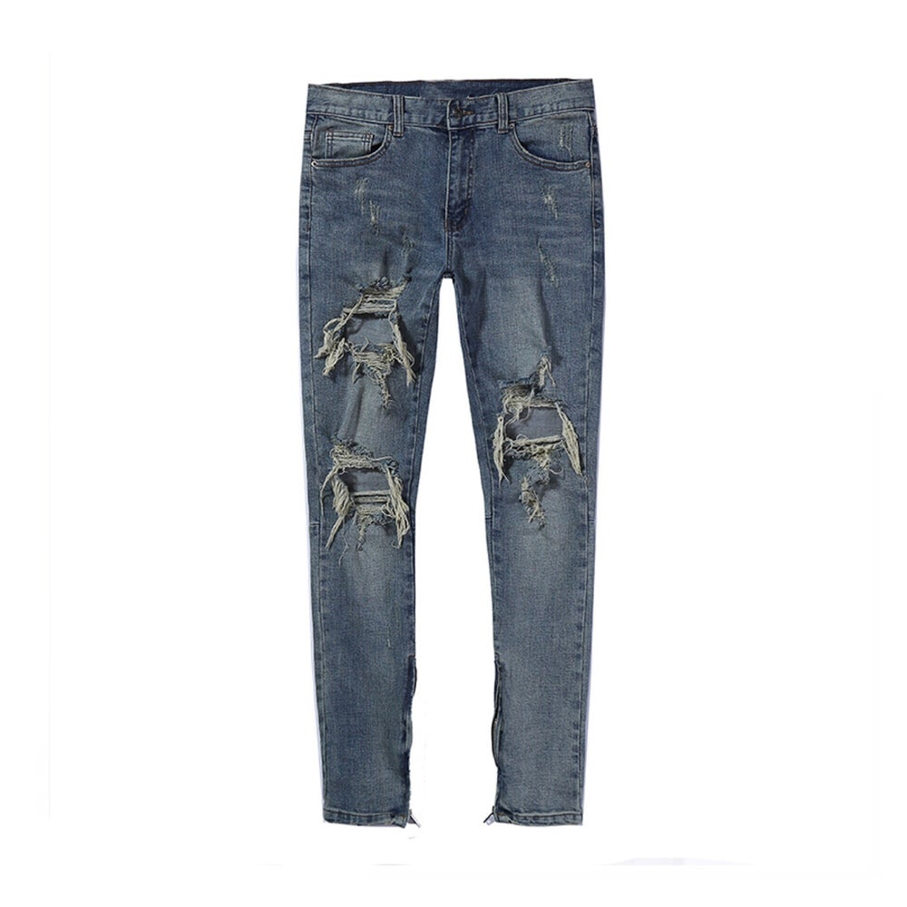 Image of Blue Denim Ripped Zip Up