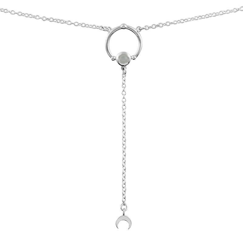 Image of Sterling Silver & Rainbow Moonstone Dara Sputnik Necklace