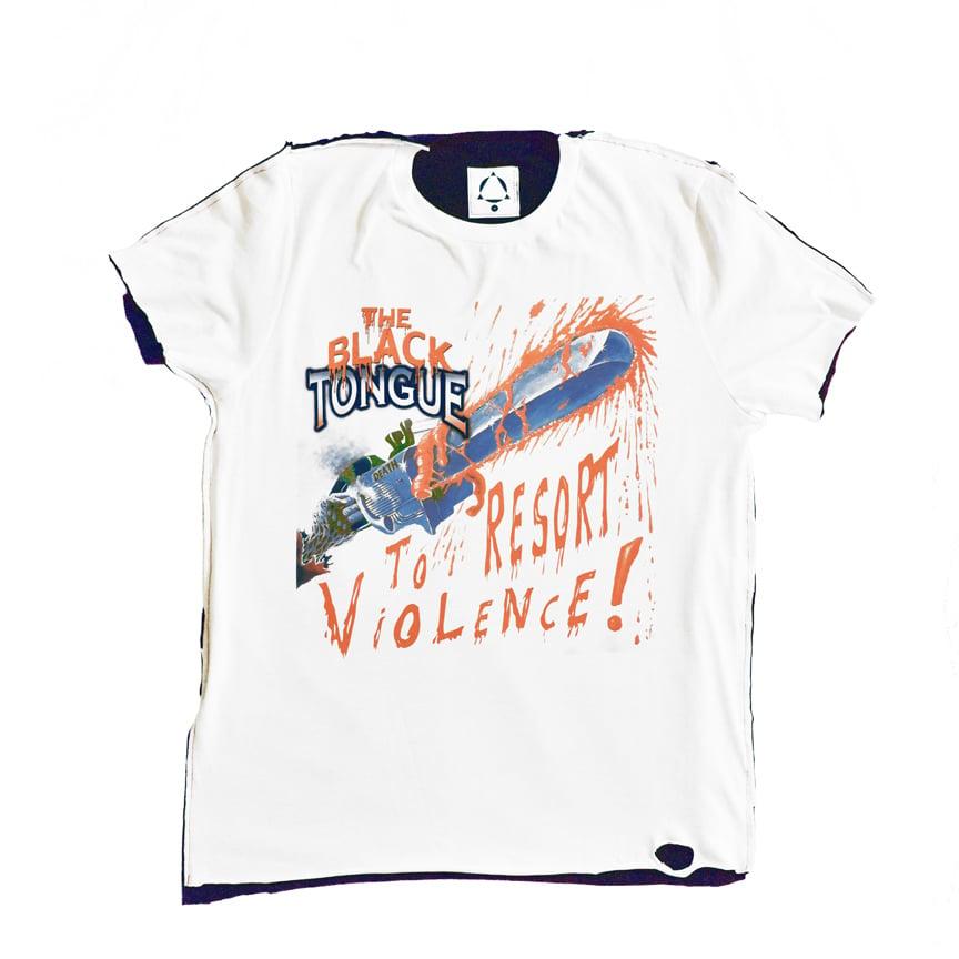 Image of resort to violence split tee