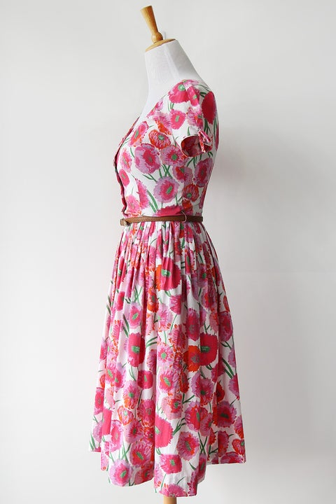 Image of SOLD 1950s In Bloom Cotton Day Dress