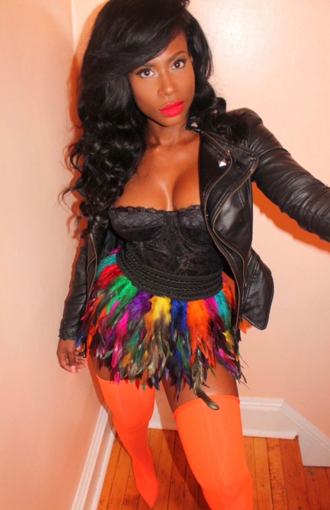 Image of Multi colored feather skirt