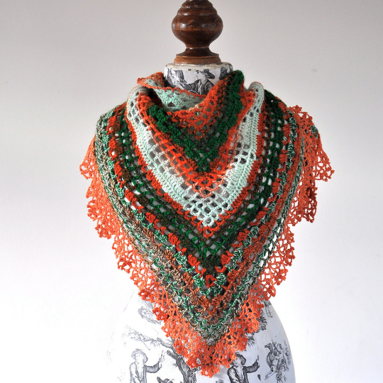 Image of PATTERN ONLY (PDF File) - Triangular Crochet Shawl In Gypsy Style with beautiful ruffled edging, tri