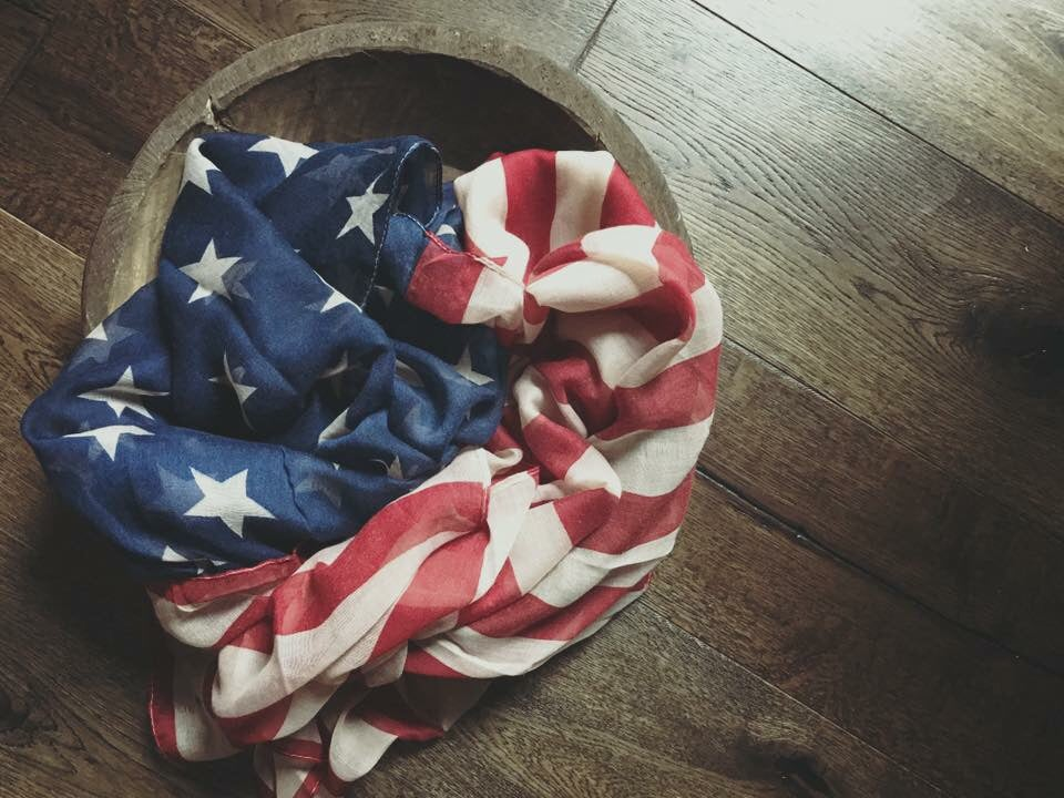 Image of American flag layering / wrapping fabric